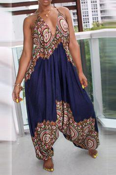 Lovely National Style Totem Printed Dark Blue One-piece Jumpsuit Boho Fashion, Girl Fashion, Fashion Outfits, Womens Fashion, Fashion Trends, Fashion 2018, Fashion Fashion, Spring Fashion, Vintage Fashion