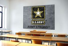 #ArmyStrong Logo Rug hung on a wall.