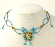 necklace pattern, schema | Beads Magic  - would lighten up the butterfly- looks a bit bulky