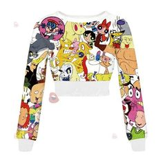 Chic Round Neck Cartoon Print Long Sleeve Crop Top For Women (265 MXN) ❤ liked on Polyvore featuring tops, long sleeve tops, long sleeve crop top, comic book, crop top and white long sleeve top