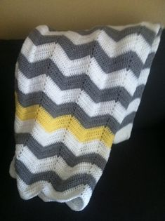 Adult size chevron white and grey with yellow stripe crochet modern blanket/afghan
