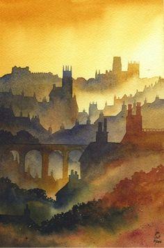 Durham from Western Hill ~ Ian Scott Massie Prints - The Gallery, Masham Art Watercolor, Watercolor Landscape, Landscape Art, Landscape Paintings, Impressionist Landscape, Guache, Art Courses, Art Graphique, Art Techniques