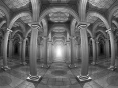 Extreme wide-angle shot of seemingly endless, arched hallways. 2017, giclée print. Watermarked preview. #architecture #arcades #wideshot #columns #hallway #corridor #centralperspective #infinite #infinity #endless #arches #symmetry #eclecticism #historicalbuildings #blackandwhite #distortion #light #darkness #building #cofferedceiling #tiledfloor