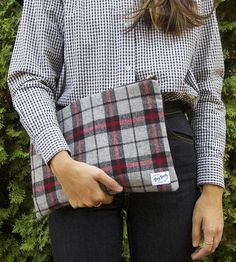 Gerry Grey Plaid Clutch by Grey Goods