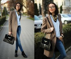 Coat, Shirt, Jeans, Boots, Bag