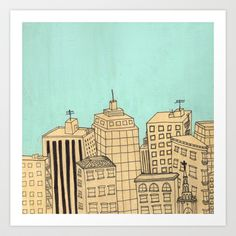 City scape Art Print by Pips Ebersole - $17.00