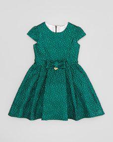 Metallic Jacquard Dress, Teal, Sizes 4-8