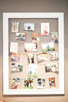 Fun way to decorate an area at reception-also cute for around the house to hang pictures