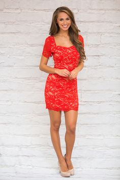 This amazing red lace dress is sure to steal the spotlight at any event!