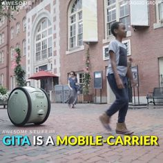 Gita is a two-wheeled, cargo-carrying device developed by Piaggo. It was designed to help you more on foot. Where you'd usually take your car on a grocery shopping trip, you can now simply walk there without having to haul your purchases on your back. New Technology Gadgets, High Tech Gadgets, Gadgets And Gizmos, Medical Technology, Technology Innovations, Energy Technology, Robotics Projects, Arduino Projects, Medical Laboratory Science