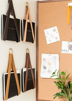 leather hanging file storage organizer wall hung magazine rack file holder for wall organization office decor storage strap mail wall mount