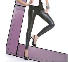 Leggings tregging effet cuir sexy noir brillant simili BAS BLEU elen NEUF