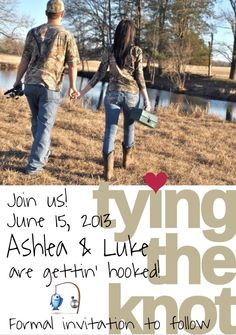 "Our Save the date. Tying the knot. Fishing theme. ""Gettin' hooked"" instead of ""gettin' hitched"" ❤"