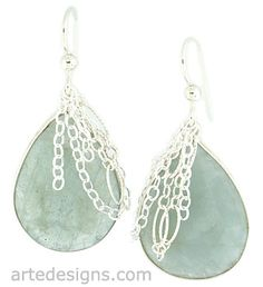 Ocean Breeze Aquamarine Earrings with draped sterling silver chain