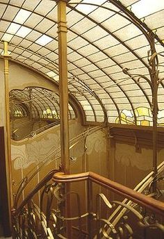 """Staircase of the Maison & Atelier of Victor Horta. This building is one of four Horta-designed town houses in Brussels that are together recognised by UNESCO as """"representing the highest expression of the influential Art Nouveau style in art and architecture.""""[1]"""