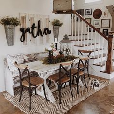"""Rustic dining room inspiration with a """"gatha"""" sign"""