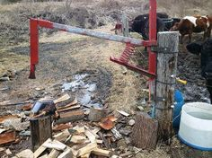 """Mystery Wood Splitter"" Built By Pennsylvanian Farm Projects, Metal Projects, Welding Projects, Outdoor Projects, Projects To Try, Welding Ideas, Manual Log Splitter, Farm Show, Homemade Tools"