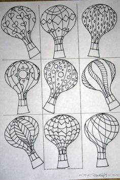 Hot air balloon drawing and design example