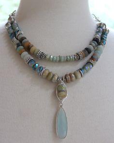 ON SALE necklace aquamarine necklace opal necklace by soulfuledges Bohemian Necklace, Boho Jewelry, Beaded Jewelry, Jewelery, Vintage Jewelry, Jewelry Necklaces, Beaded Necklace, Jewelry Design, Gemstone Necklace