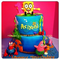 Sponge Bob Theme Birthday Cake - Sponge Bob theme b-day cake.  Bottom 10' chocolate cake w/ dark choco mousse filling. Top 8' Banana nut w/ banana cream filling. Covered in buttercream, choco ganache, and then fondant.     Cake was airbrushed .  Edible sculpted figures.