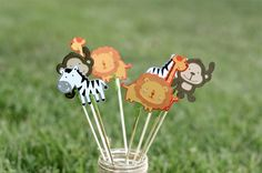 Jungle animals, jungle animal party ideas, jungle animal centerpieces, lion, zebra, monkey, giraffe
