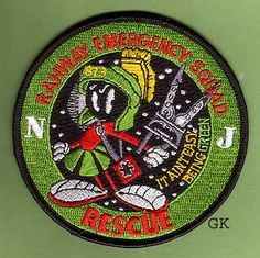 Rahway Emergency Squad Rescue  patch. From Rahway, NJ and features Marvin the Martian. #marvin #martian #fire #rescue #patch