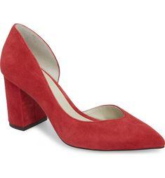 Sisteen Half d'Orsay Pump, Main, color, Scarlet Suede Suede Pumps, Women's Pumps, Scarlet, Block Heels, Heeled Mules, Nordstrom, Style Inspiration, Color, Shoe