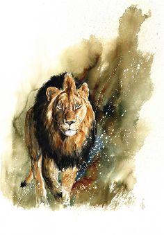 """Me"" - watercolor 2015 - www.annikafunke.org - #watercolor #lion #travel #wildlife art #art #painting #africa"