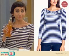 Mandy's striped bow front top on Last Man Standing.  Outfit Details: http://wornontv.net/30208/ #LastManStanding