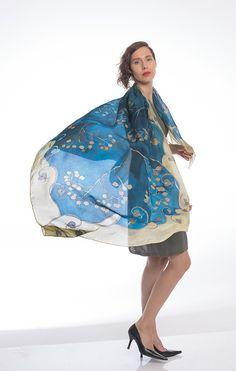 Hand Painted Silk Scarf The Bolero Steps/ Navy Blue by klaradar