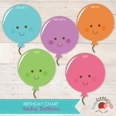 Balloon Birthday Chart for Child Educators by BUSYLITTLEBUGSshop