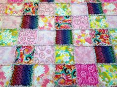 Rag Quilt Blanket Hippie Peace Signs Tye Dyed by nanaswoolies