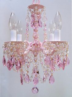 Pink chandelier lighting fixture embellished crystals and shabby can you spot an expensive chandelier home decorating design forum gardenweb mozeypictures Choice Image