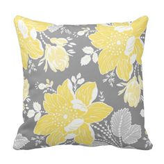Yellow Gray White Floral Decorative Pillow