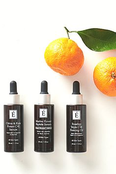 Three powerhouse products containing citrus, greens and marines rich in Vitamin C + E to brighten, firm and heal skin. Vitamin C, Organic Skin Care, Marines, Serum, Healing, Gifts, Products, Healthy, Presents