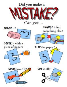 Make Mistakes. Did you make a mistake? poster for the art classroom Middle School Art, Art School, Art Room Posters, Art Classroom Posters, Classroom Design, Classroom Ideas, Art Classroom Management, Art Handouts, Art Bulletin Boards