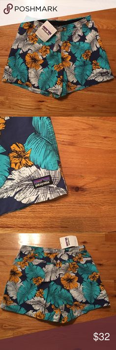 NWT, Patagonia Women's Floral Pattern Shorts Brand new with tags, never worn, Style Best fronds, Channel Blue. Colors are turquoise blue, white, yellow, navy. 5 inch inseam, good for outdoor wear or everyday wear. Elastic waistband . 💯 % Authentic. Women's shorts floral pattern Patagonia Shorts