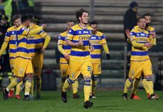 Jacopo Dezi of Parma Calcio celebrates after scoring the 01 goal during the Serie B match between US Salernitana and Parma Calcio at Stadio Arechi on...