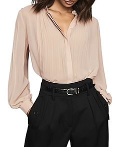Buy Reiss Handen Pleated Blouse, Pale Pink from our Women's Shirts & Tops range at John Lewis & Partners. Reiss Fashion, Blouse Online, Blouses For Women, Work Wear, Long Sleeve Tops, Mini Skirts, Luxury Fashion, Feminine