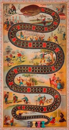 "hicockalorum: "" The Game of the Sociable Snake c. 1890 McLoughlin Brothers New York, New York Collection of The Strong, Rochester, NY SFO Musuem: Let's Play! 100 Years of Board Games "" Old Board Games, Vintage Board Games, Old Games, Game Boards, Etsy Vintage, Vintage Toys, Board Game Design, Exhibition, Bear Art"