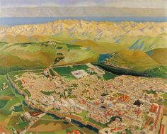 Jerusalem and the Dead Sea from an Aeroplane by Richard Carline IWM (Imperial War Museums)      Date painted: 1919     Oil on canvas, 105.4 x 130.8 cm     Collection: IWM (Imperial War Museums)