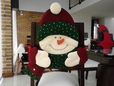capa de cadeira para o Natal -  boneco de neve