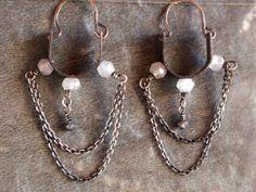 Silver chandelier hoop earrings moonstone earrings by BirdandBeed, $31.50