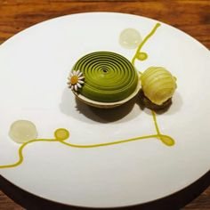 Matcha almond tart, yuzu honey ice cream, matcha swirl whipped ganache by Andy Yeung.