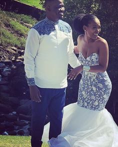 Image may contain: 1 person standing wedding outdoor and nature South African Dresses, African Bridesmaid Dresses, African Wedding Attire, Bridesmaid Dresses 2018, Bridal Dresses, Bridesmaids, Couples African Outfits, African Traditional Wedding Dress, Shweshwe Dresses