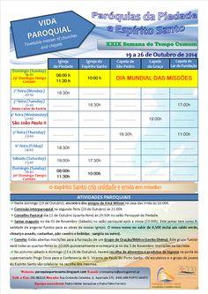 PARÓQUIAS DO PORTO SANTO: Horário das Paróquias de 20 a 26 de Outubro