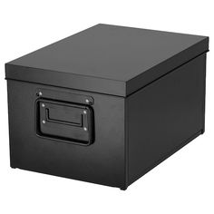 IKEA - MANICK, Box with lid, black, Good for storing and organizing media accessories, tools or craft supplies. The label holder on the side helps you organize and find your things. Wire Baskets, Storage Baskets, Ikea Storage, Office Storage, Pantry Organization, Such Und Find, Licht Box, Kallax Shelf, Black