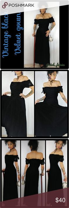 Vintage faux velvet gown Vintage black faux velvet gown. Made in USA. From the 80s early 90s. Model is a size 4. Dress size is 6 with zipper in the back.. & elastic in the back. Good for my big busty gals. Message me for more details, offers or personalized bundles. Thank you for looking. #vintagedress  #fauxvelvet #blackgown #eighties #ninties #beautifulgown #vintage #gorgeous Dresses