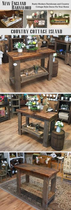 This Farmhouse Kitchen Island is adorable.Very Rustic and Primitive!!! #DiyWoodProjectsForBeginnersFun