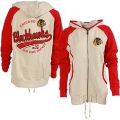 Women's Chicago Blackhawks Old Time Hockey Cream/Red Mel Hoodie